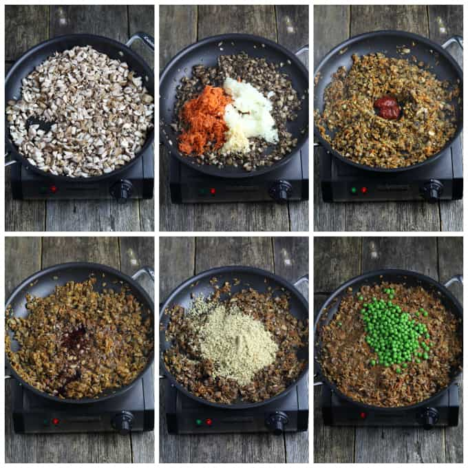 six process photos of cooking mince in a pan for vegan shepherd's pie.