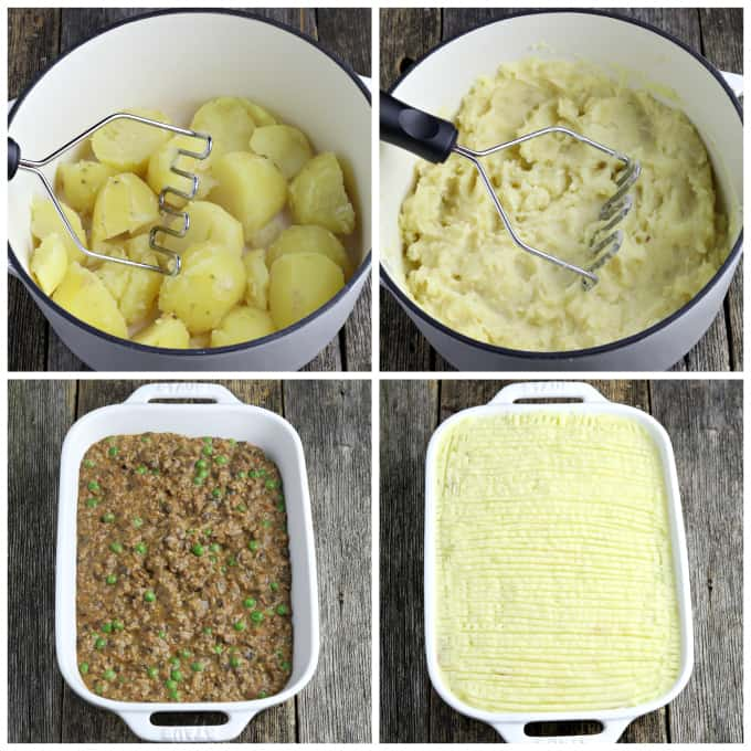 four process photos of mashing potatoes, then filling casserole with mince and topping with potatoes.