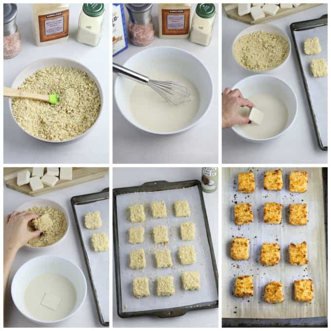 6 process photos of breading tofu squares and baking them.