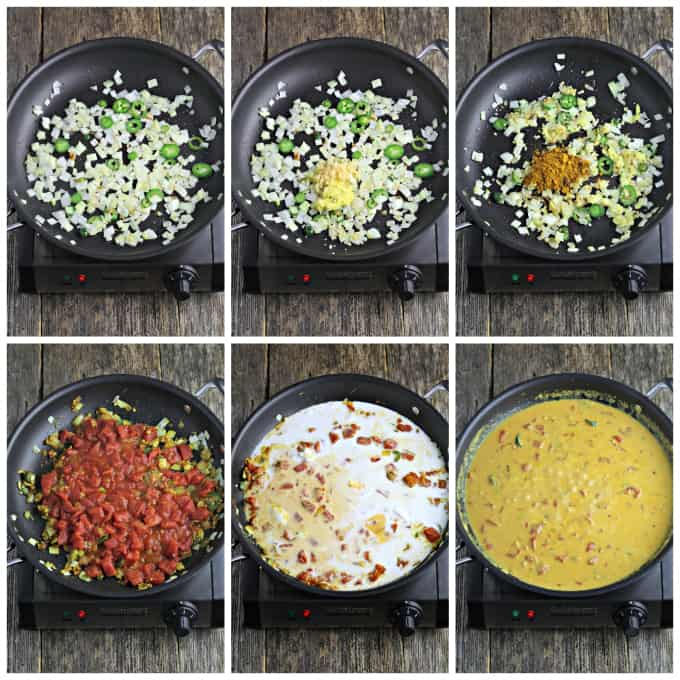 Six process photos of cooking curry sauce in a pan.
