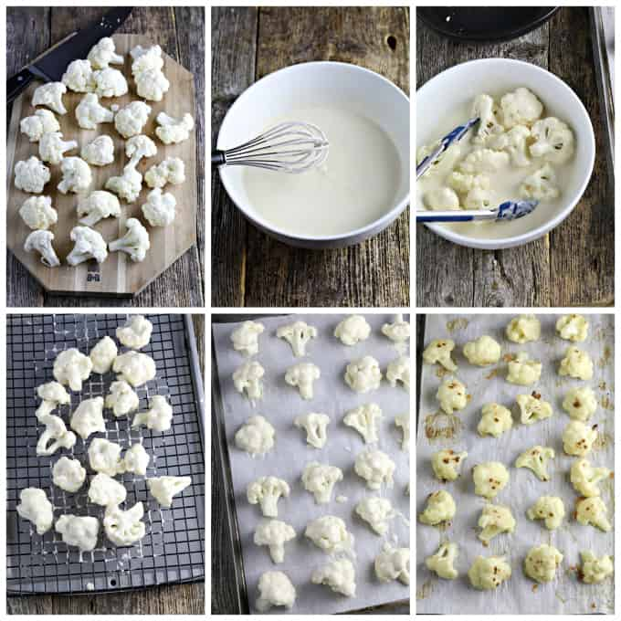 Six process photos showing how to batter cauliflower.