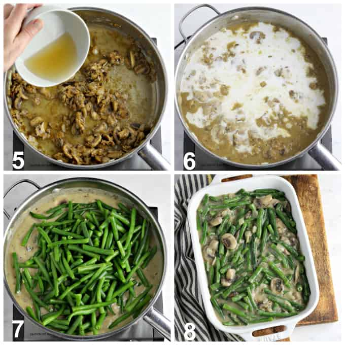 4 process photos of thickening the sauce and adding green beans.