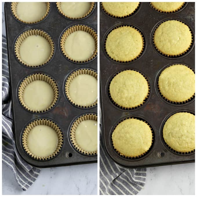 Two process photos of filling cupcake tin and fully bakes cupcakes.