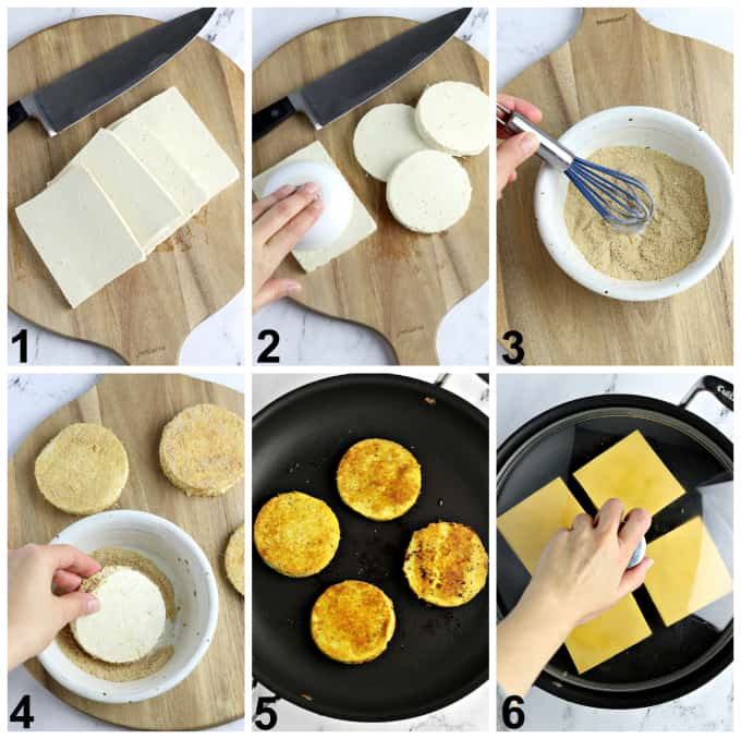 Six process photos of preparing tofu and frying in a pan.
