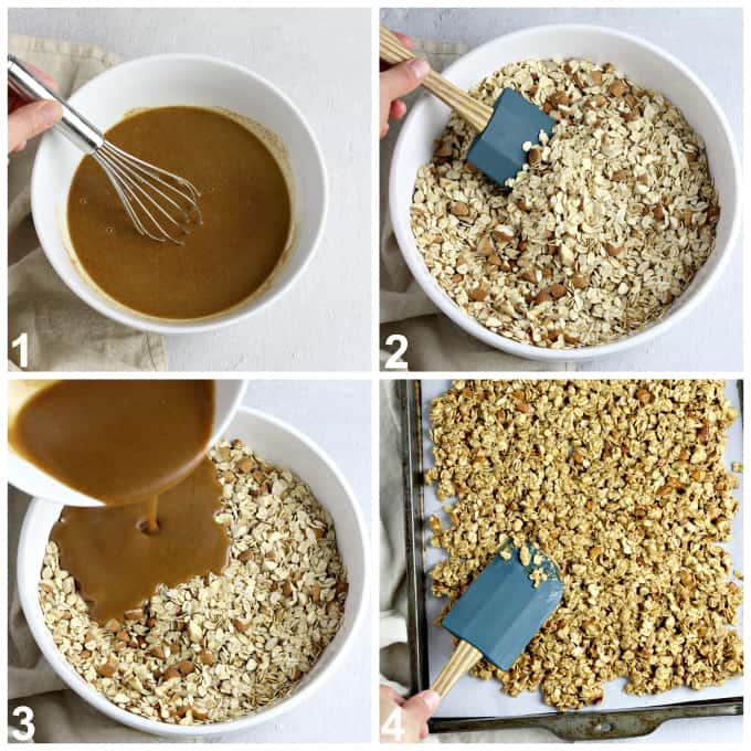 4 process photos of mixing ingredients in a bowl and spreading mixture onto a baking sheet.
