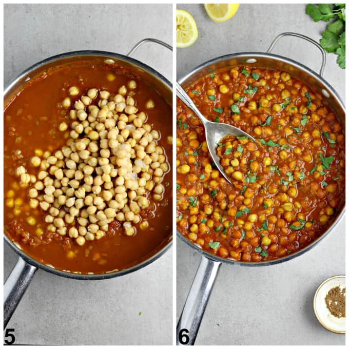 Two process photos of finishing the sauce in a pan.