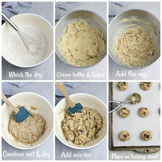 6 process photos of making cookie batter in a bowl.