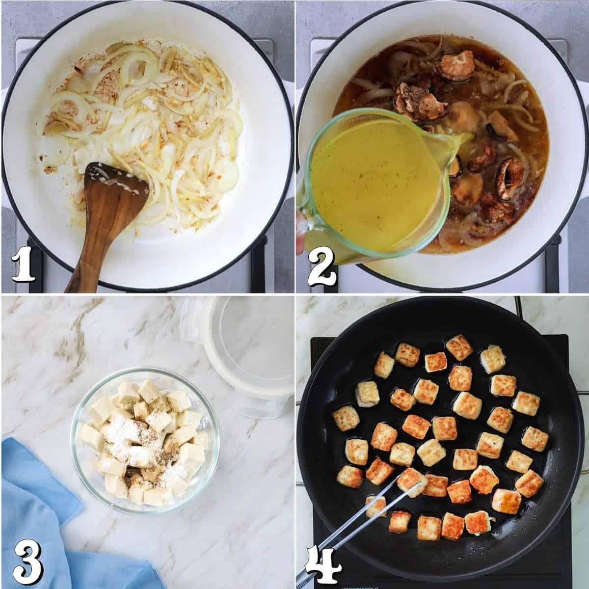 4 process photos of preparing broth and crispy tofu.