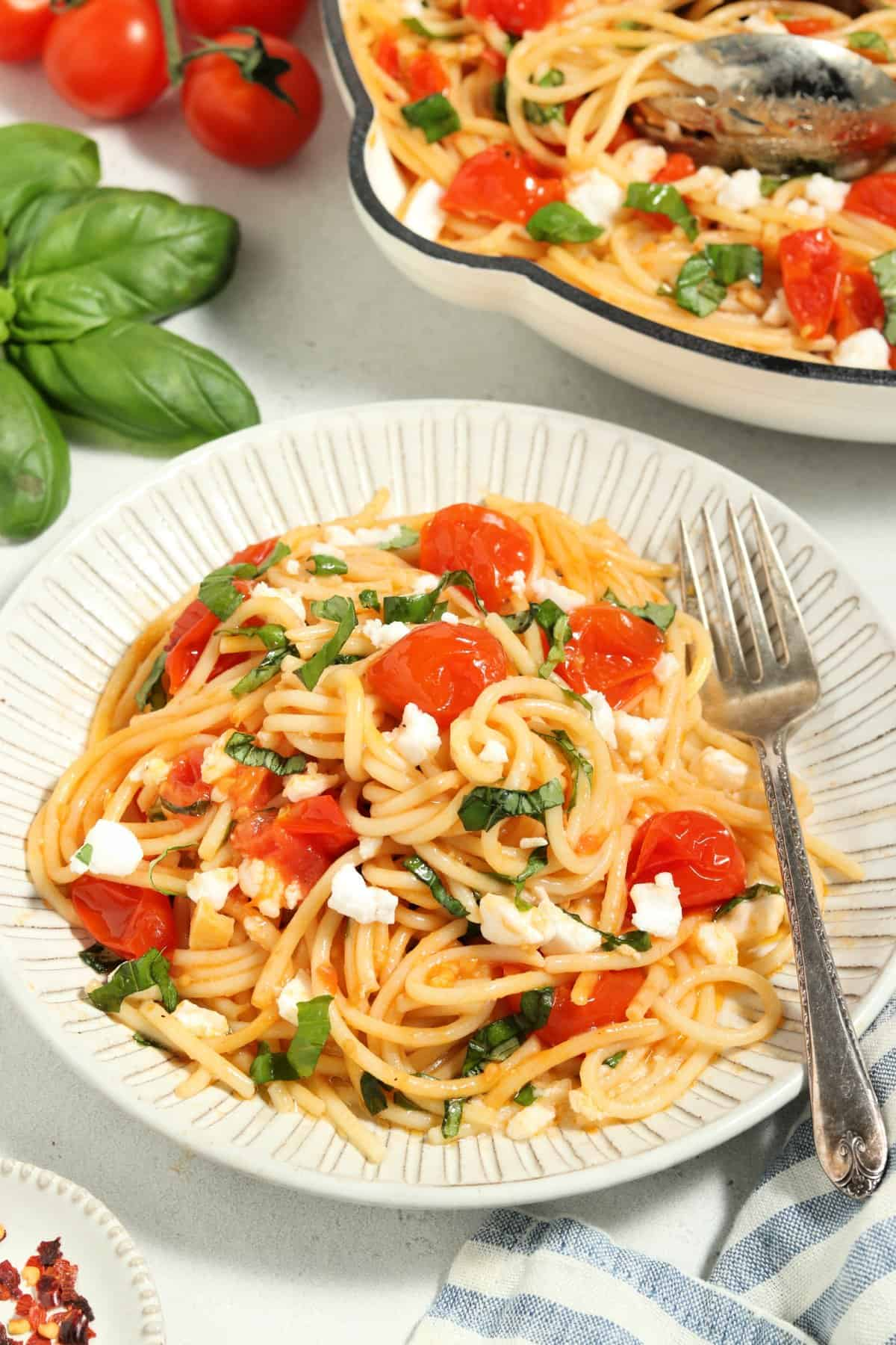 close up view of tomato pasta on a white dish with skillet in the background.