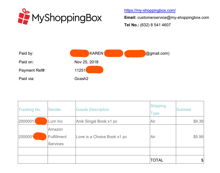 generated receipt for 2nd order at my shopping box, order by air