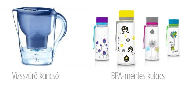 vízszűrőkancsó és BPA mentes kulacs