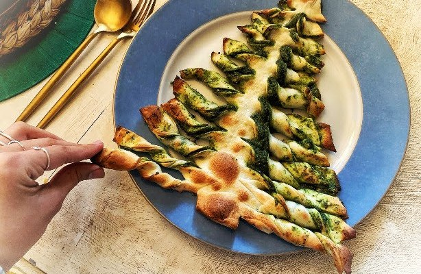 ¡Especial Recetas Veganas de Navidad! Árbol con Pesto de Espinacas