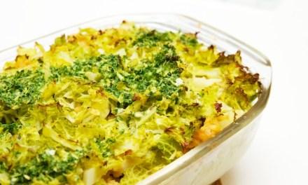 Ovenschotel met aardappel, savooikool en linzen