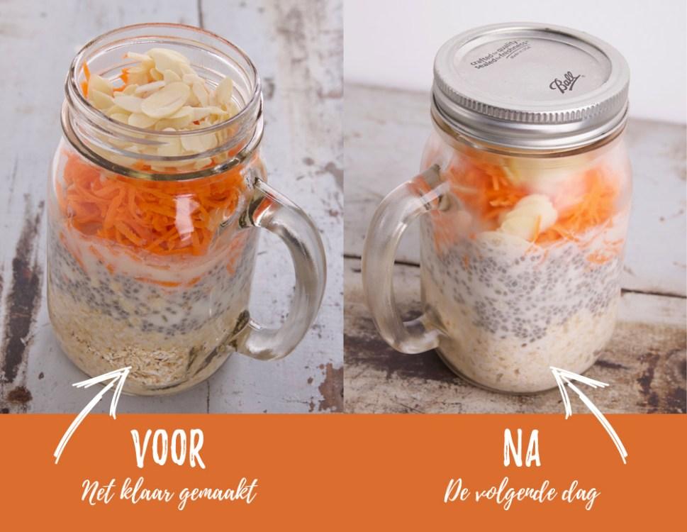 Overnight oatmeal - voor en de dag erna