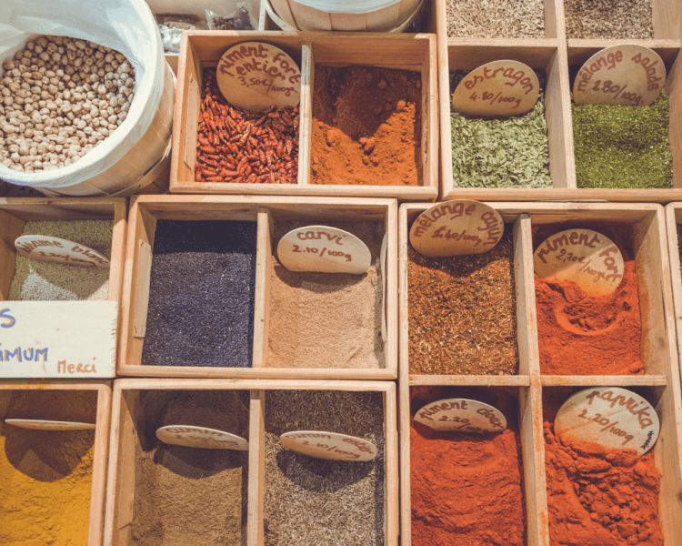 Close-up of spices been sold in a street market, vegan taste substitute to cheese