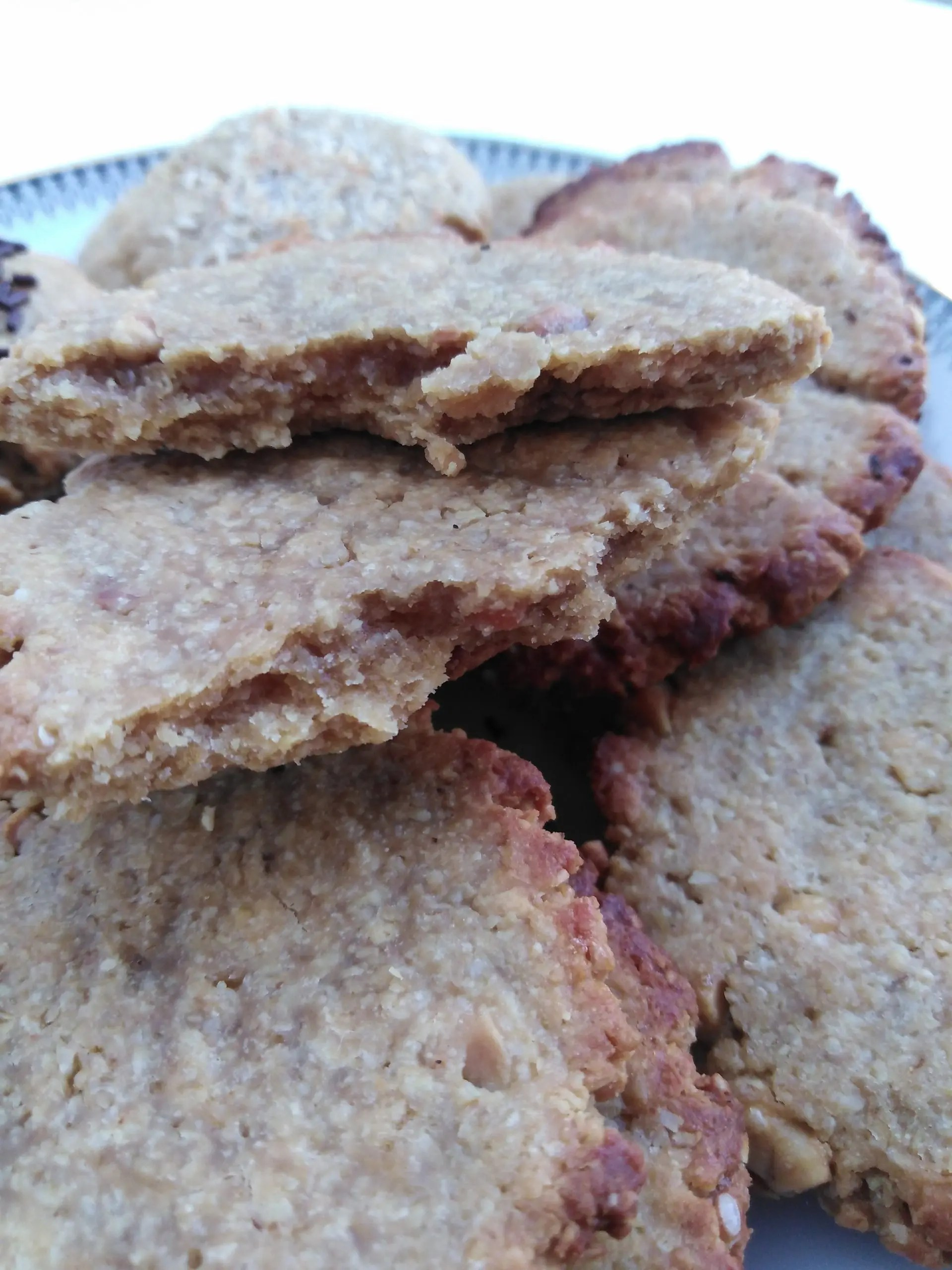 Close up of plate with Vegan Peanut Butter Oat Cookies