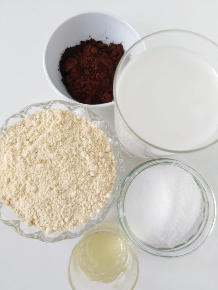 ingredients to make vegan chocolate truffles with chickpea flour