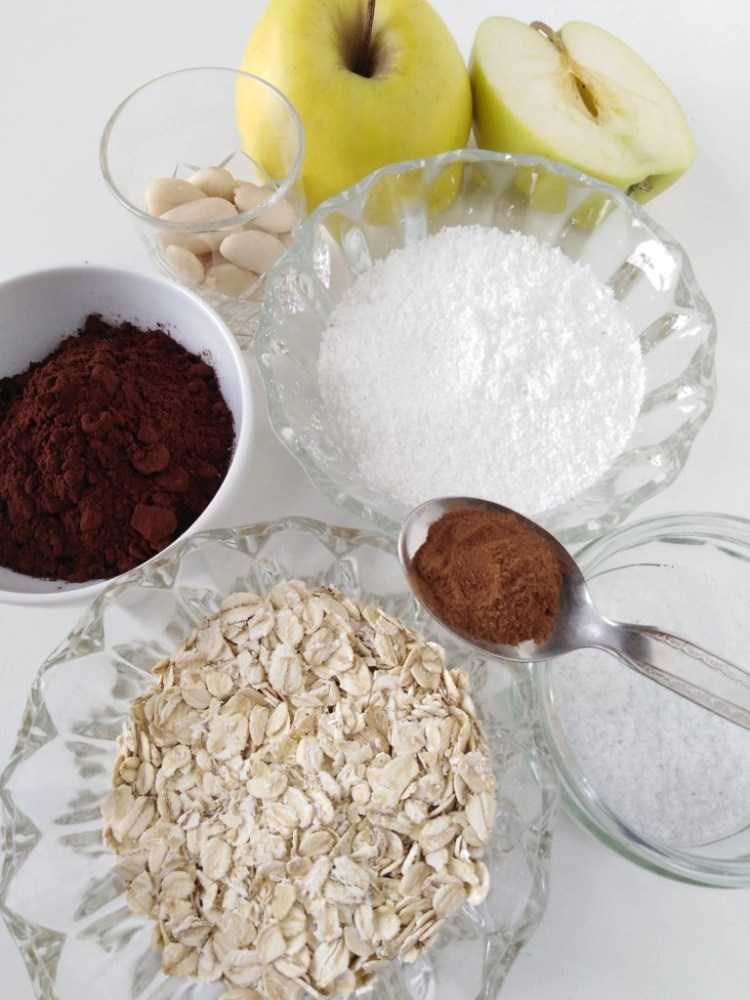 ingredients to make vegan chocolate truffles with coconut