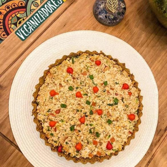 Quiche de Tofu com Lentilhas Vegana - Receita Veganizadores