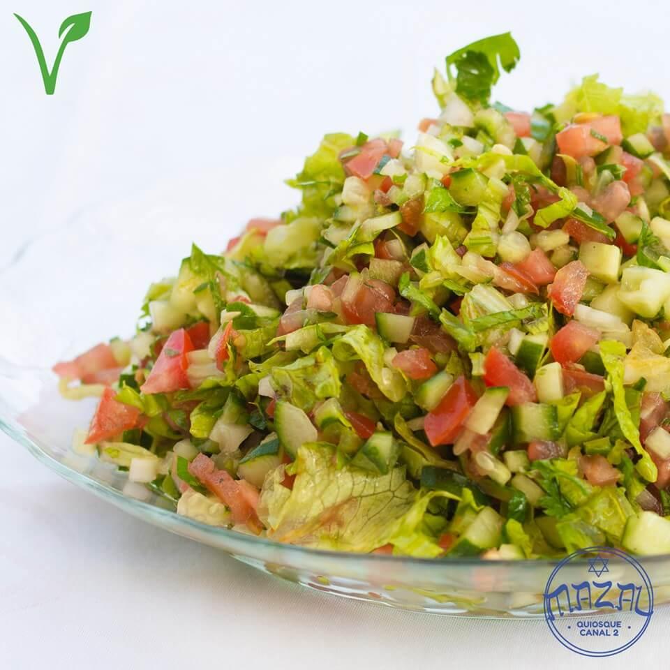 Mazal Quiosque Canal 2 Vegano. Salada Rei Davi Culinária Israelense