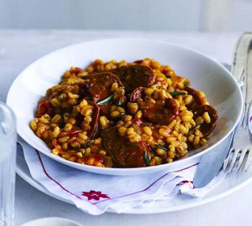 vegansk risotto med chorizo