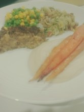 Parnsip puree with chestnut lentil loaf, roasted carrots and veg