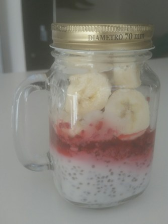 Chia soaked overnight in coconut yoghurt with raspberries, banana and cinnamon