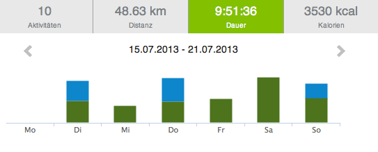 Statistik mit knapp 50 km/Woche.