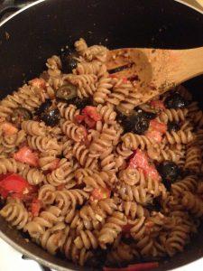 Whole Wheat Tomato Almond Parmesean Pasta l Vegan Nom Noms