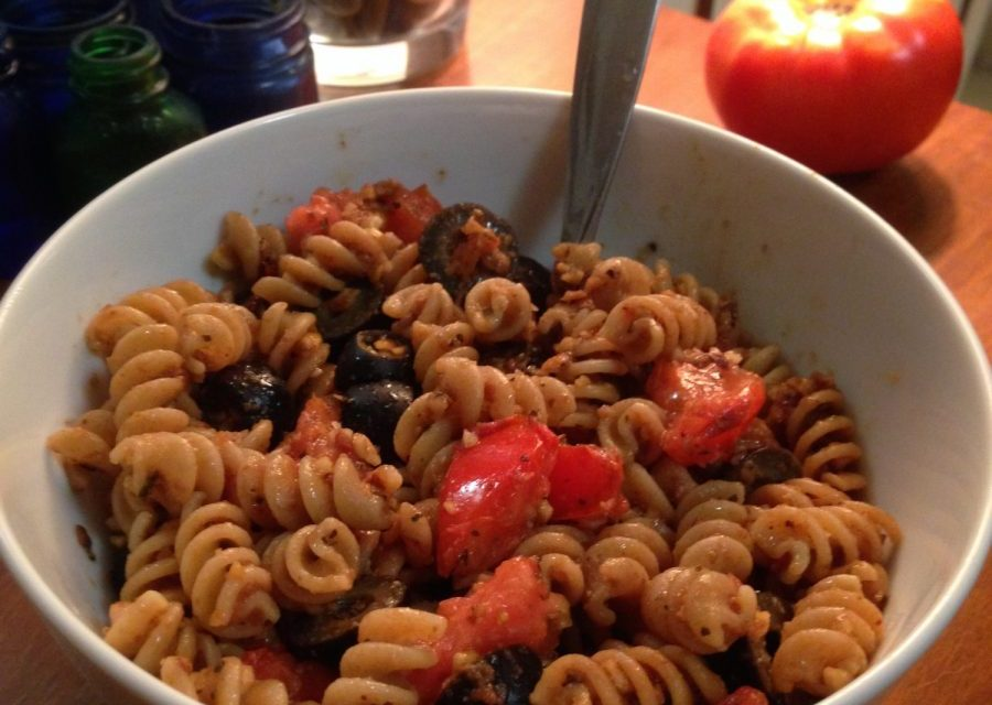 Rustic Fresh Tomato Whole Wheat Pasta with Almond Parmesean
