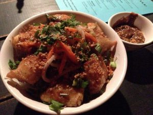 Vegan Drinks NOLA Lost Love Lounge Tamarind Fried Tofu Noodle Bowl | Vegan Nom Noms