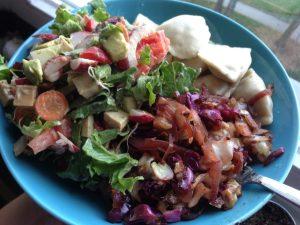 Frozen Pierogies, Cabbage Salad - Vegan Nom Noms