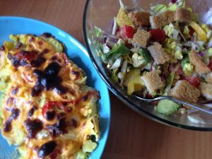 Smashed Potatoes and Salad - Vegan Nom Noms