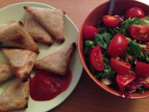 Frozen Samosas and Salad - Vegan Nom Noms