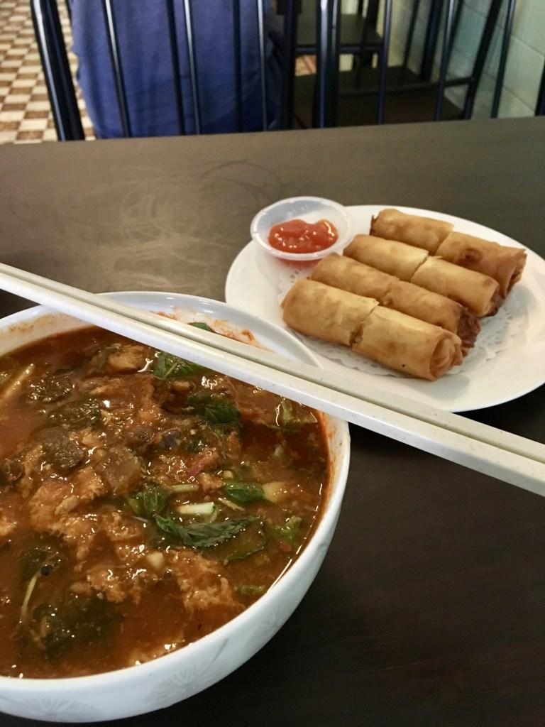 vegan penang tanny vegetarian house laksa soup and popiah rolls
