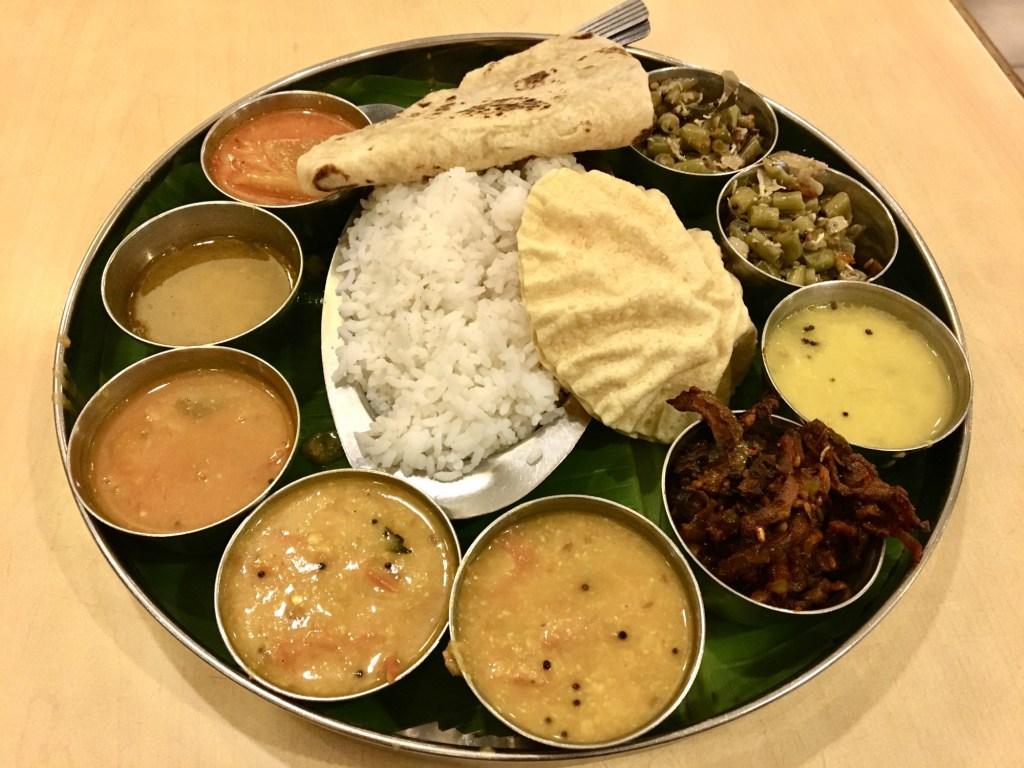 woodlands vegetarian indian restaurant vegan thali plate