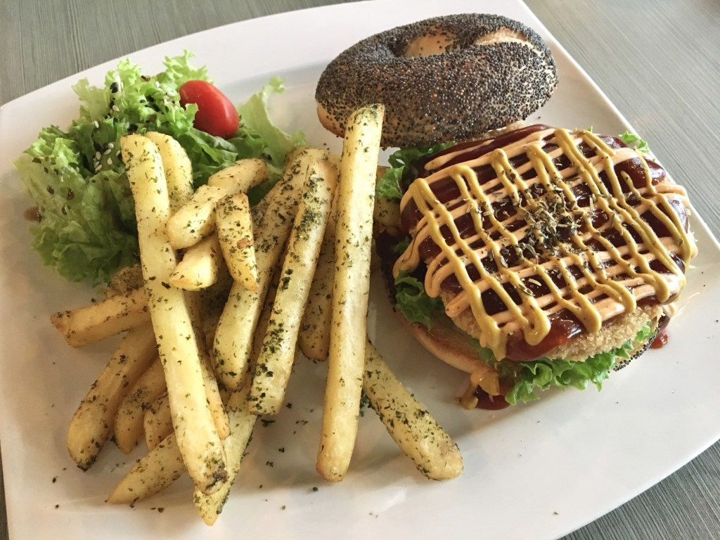 vegan penang brown poodle burger and seaweed fries