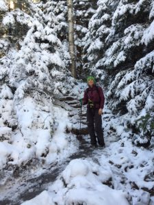 Late fall hike in the Adirondack High Peaks with Eco Vegan Shoes vegan hiking boots