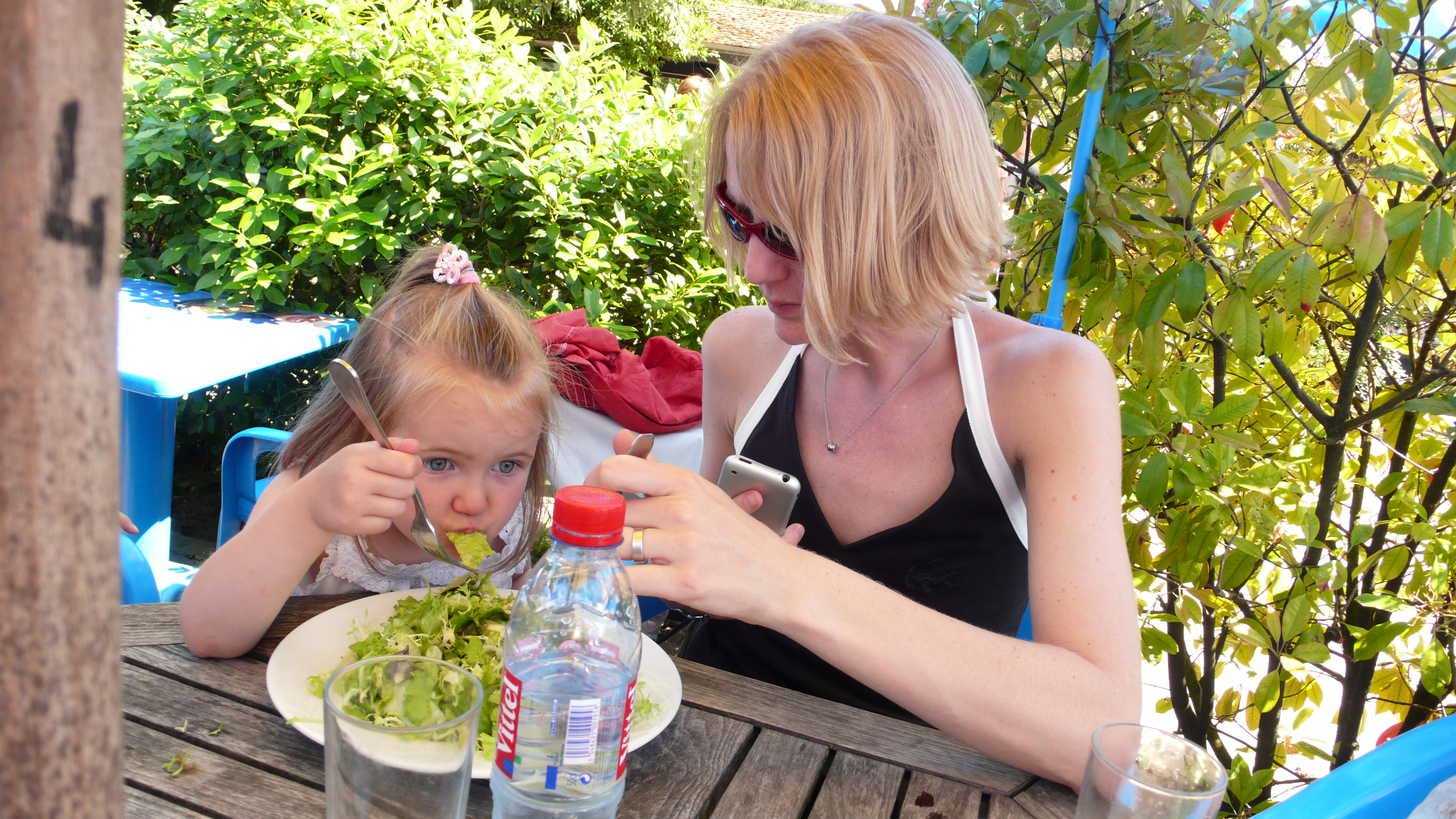 Sharing a Salad in the Parc Floral
