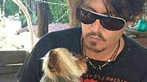 Johnny Depp with one of his dogs. Source Pinterest