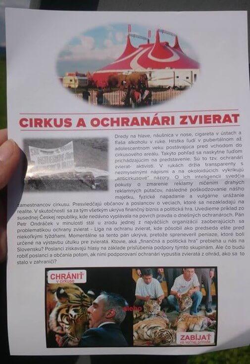 "Cirkus Aleš – reakcia na leták ""Cirkus a ochranári zvierat"""