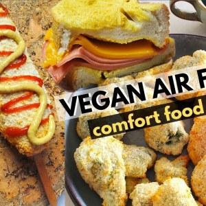 VEGAN AIR FRYER COMFORT FOOD RECIPES (Vegan Cheese Corn Dogs, Tempura, Eggy Toast)