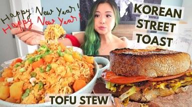 KOREAN STREET TOAST (VEGAN) + SPICY TOFU STEW MUKBANG / Munching Mondays Ep.80