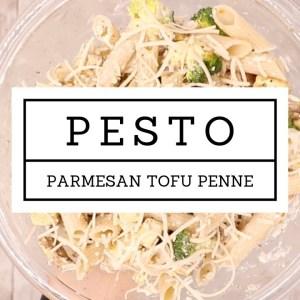 Pesto Parmesan Tofu Penne | Follow Your Heart Pesto & Jovial Foods Gluten-free Pasta are THE BOMB!