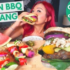 VEGAN BARBECUE MUKBANG (Burger, Macaroni Salad, Skewers) / Munching Mondays Ep.96