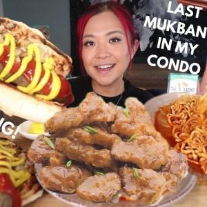 Vegan MUKBANG: Crispy Chick'n, Hot Dog, Spicy Ramen / Munching Mondays Ep.99