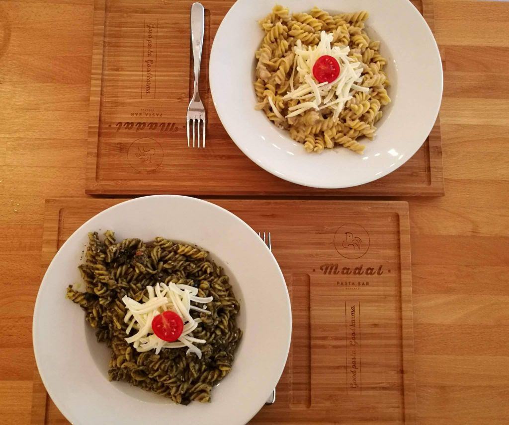 two pasta bowls at vegan restaurant in Budapest