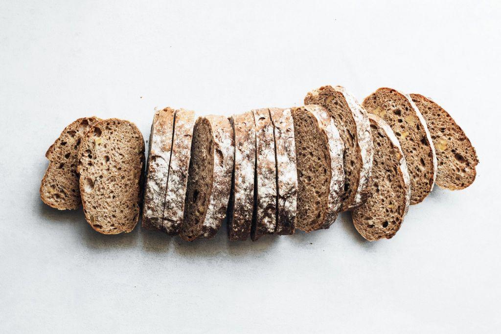Sliced vegan bread on table