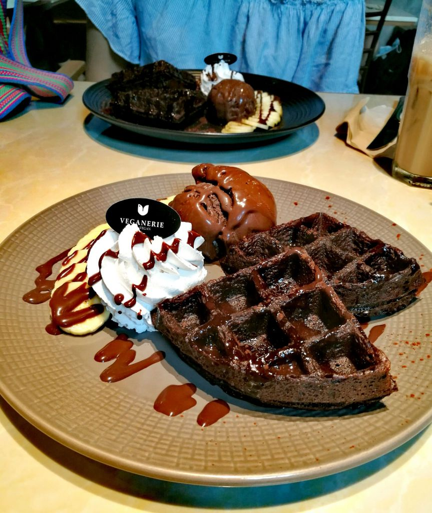 Vegan Chocolate Waffles with Ice Cream
