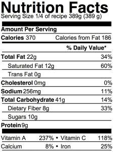 vegan korma nutrition info